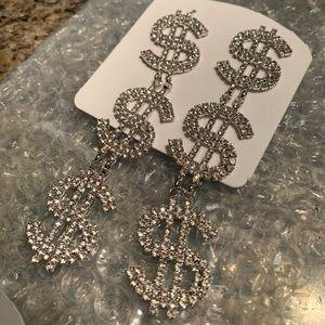 Silver dollar sign earrings